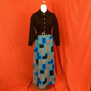 VINTAGE 60s Mod Groovy Black Maxi Dress w Belt